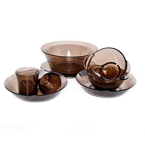 Set De Cubiertos Importados De 8 Piezas En Caja De Vajilla De Vidrio Templado De Color Marrón para El Hogar