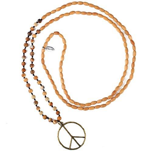 KELITCH Klassischen Friedens Zeichen Halskette Liebe Hippie Anhänger Frosted Kristall Perlen Halskette (Holz)