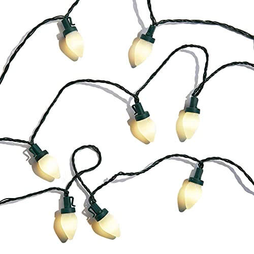 C7 LED Christmas Lights - 50 Frosted Bulbs with Warm White Light, Battery Operated, 29 Feet, Retro Style Large Bulb String Light, Indoor / Outdoor Wedding Decorations or Party Lighting