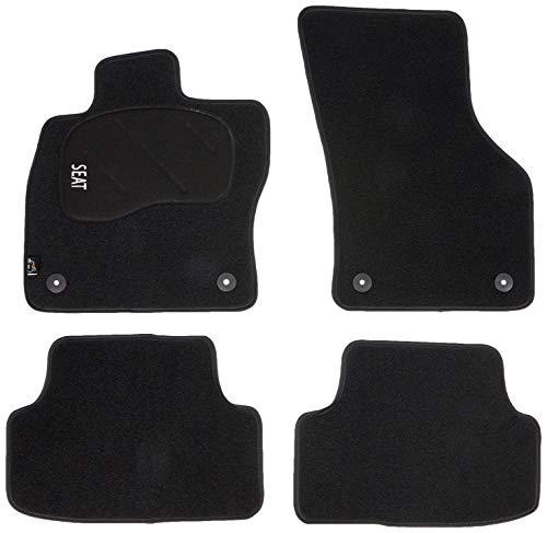 Juego de Alfombras de Moqueta a Medida Premium Negro para Seat LEON III de 2013 en adelante.