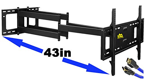 FORGING MOUNT Long Arm TV Mount,Dual Articulating Arm Full Motion Wall Mount TV Bracket with 43 inch Extension,Fits 42-90 Inch Flat/Curve TVs, Holds up to 132 lbs,VESA600x400mm Added 8ft HDMI Cable,