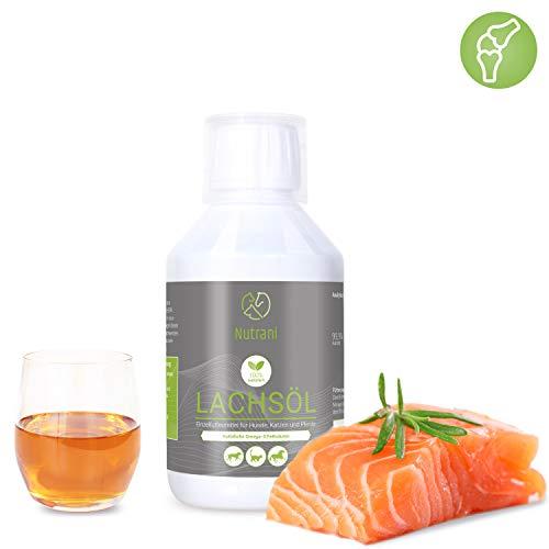 Nutrani Omega-3 Lachsöl für Hunde, Katzen und Pferde | 250 ml kaltgepresst - Natürliches Fischöl mit Omega 3 + 6 Fettsäuren trägt zur vitalen Haut und glänzendem Fell bei | Ideal beim Barfen