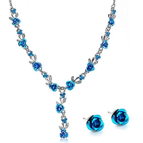 MIORIO Conjuntos de aretes de Collar de Moda de Diamantes de imitación de Matrimonio