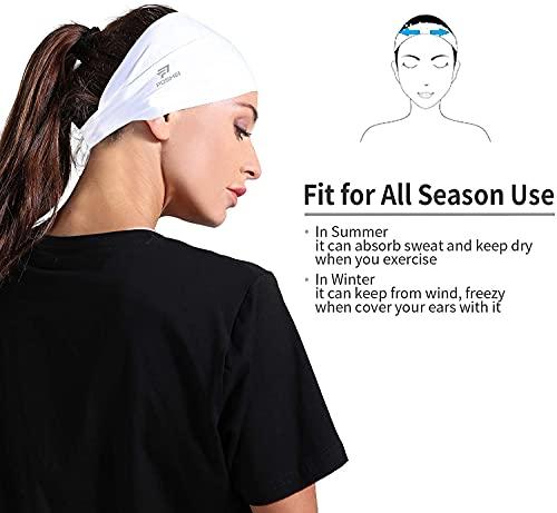 poshei Mens Headband (4 Pack), Mens Sweatband & Sports Headband for Running, Cycling, Yoga, Basketball - Stretchy Moisture Wicking Hairband