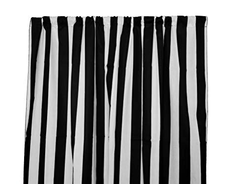 Zen Creative Designs Decorative Stripes Light Weight Cotton Curtain Panel/Window Decor/Window Treatments (84 Inch x 58 Inch, Large Stripe Black White)