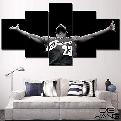 KOPASD Cuadro En Lienzo NBA Art Miami Heat Lebron James 150X80Cm Impresión De 5 Piezas Material Tejido No Tejido Impresión Artística Imagen Gráfica Decoracion
