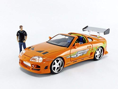 JADA Toys Fast & Furious Brian & Toyota Supra, 1: 24 Scale Orange Die-Cast Car with 2.75' Die-Cast Figure
