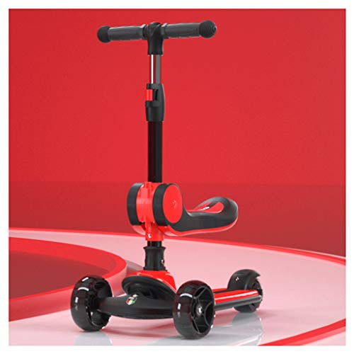 Dzwyc Scooter Scooters de Almacenamiento Plegables -Wheel Kids Kick Scooter - LED Light Wheels - Barra de t-Bar de Altura Ajustable - para niños y niñas Patinetes (Color : Red)