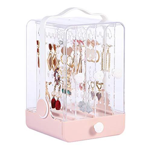Joyero a Prueba de Polvo Percha de Collar Pendiente Almacenamiento de Joyas de Gran Capacidad Soporte de exhibición Transparente (Color : Pink, Size : 12.5 * 22cm)
