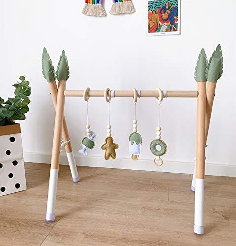 Gimnasio de madera portátil del bebé, marco plegable del gimnasio del juego del bebé con 4 juguetes de la dentición del bebé, actividad del ejercicio del bebé Gimnasio que cuelga Bar recién nacido beb