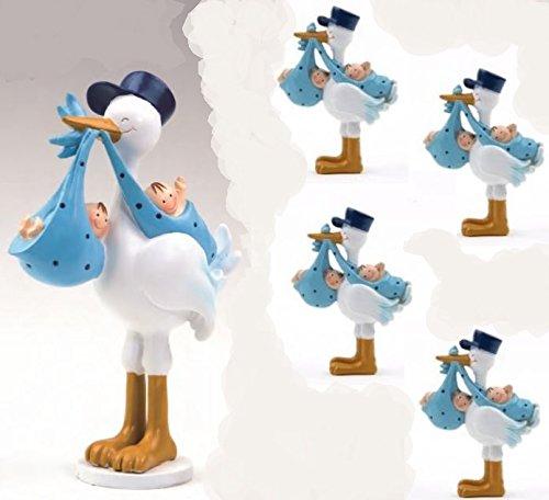 Pack 12 imanes GEMELOS azules en cigueña amorosa y 1 figura para tarta a juego