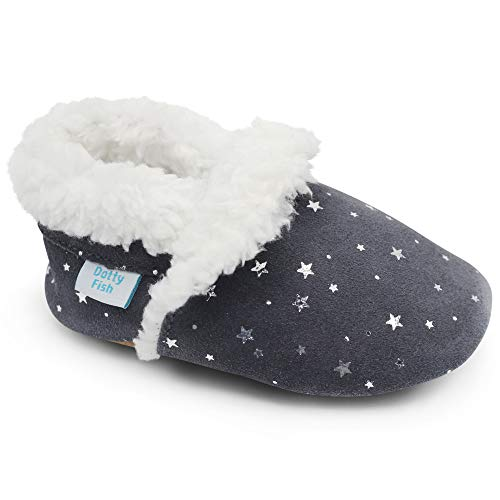 Dotty Fish Wildlederhausschuhe für Babys und Kleinkinder. Warmes Fleecefutter. Silberne Sterne. Weiche, rutschfeste Sohle. 2-3 Jahre (25EU)