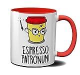 OM3® – Taza de café espresso, taza de cerámica, 325 ml, estampado por ambos lados, color rojo
