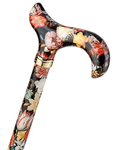 Design Gehstock BOSSCHAERT farbig, bunt, modisch, höhenverstellbar, Derbygriff, Leichtmetall, edler Messingring, Damen und Herren, Gummipuffer.