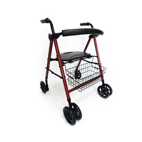 EASY WAY. Andador Rollator para minusválidos, ancianos, ligero, plegable, frenos por presión, con asiento, cesta y ruedas.
