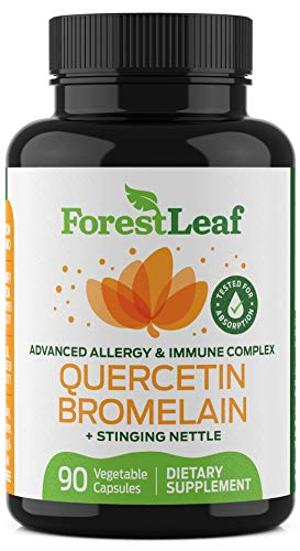 Advanced Sinus and Allergy Relief Supplement – Quercetin Bromelain with Stinging Nettle – 90 Natural Vegetable Capsules – Non GMO, Dairy, Gluten, Egg and Nut Free - by ForestLeaf