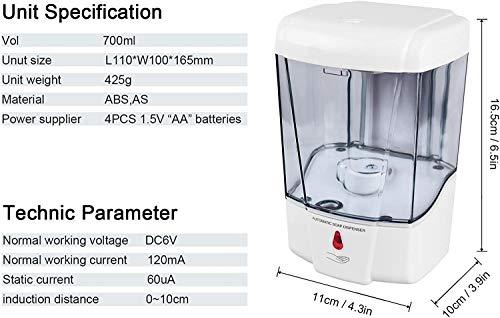 swonuk Dispenser di Sapone a Parete Sensore infrarossi 700ml Dispenser di Sapone Automatico Toccare fissato al Muro per Cucina Ufficio Hotel Ristorante