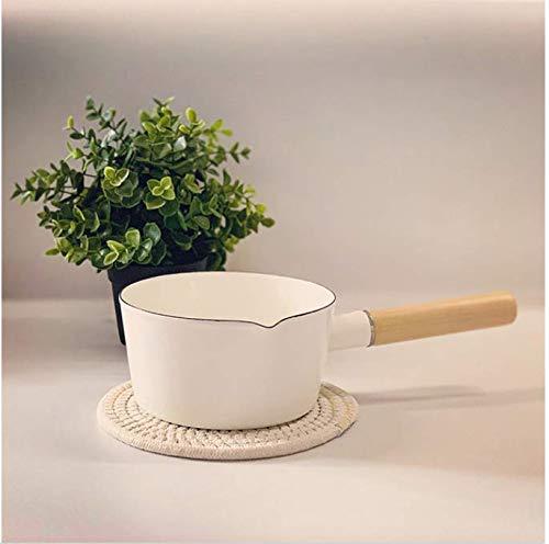 HUSHUN Emaille Milchtöpfe Keramik Beschichtung Topf mit Anti-Haft-Versiegelung für alle Herd Arten geeignet Induktion Gas Elektro-Weiß