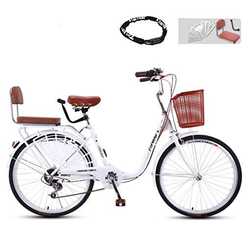 CHERRIESU Ligero 24'Bicicleta de Ocio de la Ciudad, 7 velocidades en Bicicleta para Adultos con Bicicleta Lands Bike & Cesto Cruiser Bike Bike Bike Bike Classic Bicycle,Blanco