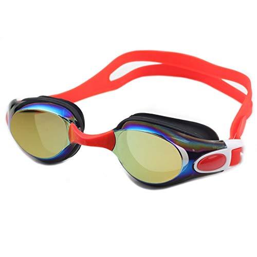 Zwembril, geen lekkende anti-mis, uv-bescherming, voor mannen, vrouwen, volwassenen, jeugd, kinderen (meer dan 6 jaar), met gratis beschermhoes. rood