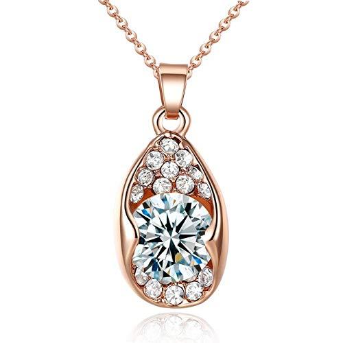 FUKAI Rose Goldene Zirkon Halskette Großen Kristall Champagner Stein AnhängerOrnamente Modeschmuck Exquisite Damen Hochzeit Zubehör Geschenk
