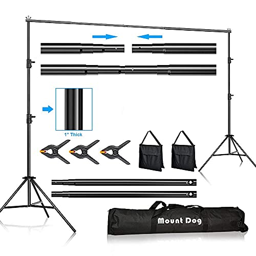 MOUNTDOG Backdrop Support Stand 10FT Adjustable Photography Studio Background Support System Kit with Carrying Bag for Photo Video Shooting