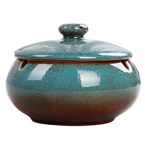 AMITD Chinesischer Wind-Aschenbecher Zigarre mit Deckel Retro für Draußen Keramik Bunt mit Deckel, sturmaschenbecher aus Keramik mit Deckel (Blau)