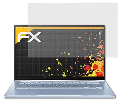 atFolix Panzerfolie kompatibel mit Asus Chromebook Flip C433 C433TA Schutzfolie, entspiegelnde & stoßdämpfende FX Folie (2X)