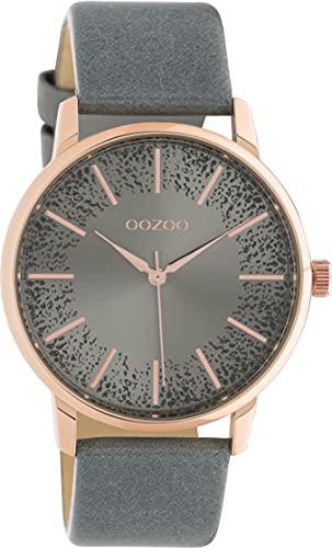 Oozoo Damenuhr mit Lederband 40 MM Rosegoldfarben/Blaugrau/Glitzer C10718