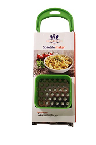 Spaetzle Maker By HARCCI : Homemade German Noodle Dumpling Making Tool With Safety Pusher And A Comfortable Handle – Stainless Steel And Food Grade Plastic In 5 Fun Colors (green)