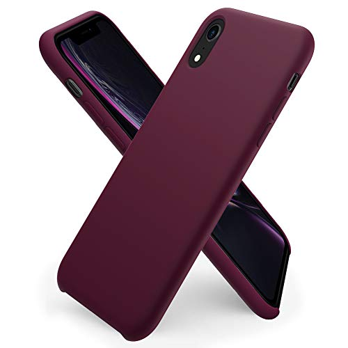ORNARTO kompatibel mit iPhone XR Silikon Hülle, Hülle Ultra Dünne Flüssig Silikon Handyhülle Schutz für iPhone XR (2018) 6,1 Zoll -Weinrot