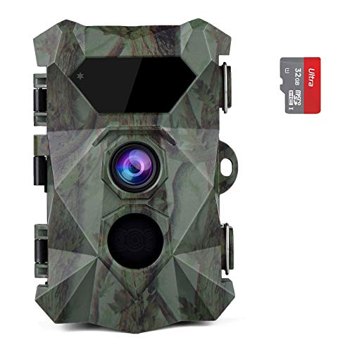 """Coolife Trail Game Camera, 2.7K 20MP Hunting Wildlife Camera with 46Pcs IR LEDs Night Vision 0.1S Motion Activated 2.4"""" LCD IP66 Waterproof, with 32GB Card"""