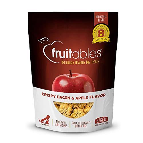Fruitables Crunchy Baked Low Calorie Training Treats for Dogs | Crispy Bacon Apple Flavor | 7 Ounces
