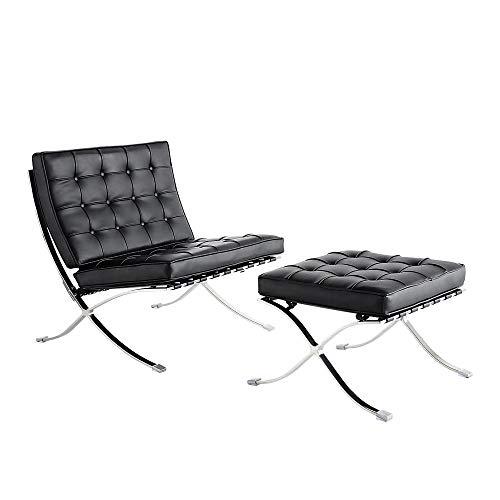Poltrona classica Barcellona con ottomano, sedia laterale pieghevole in vera pelle con telaio in acciaio inox, per camera da letto, soggiorno, sala lettura, ufficio (nero)