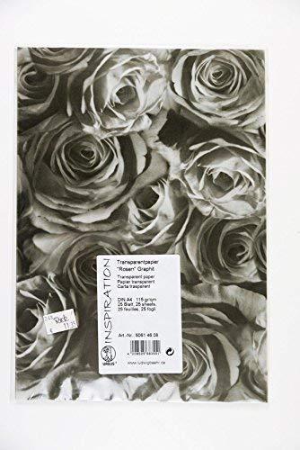 Ludwig Bähr Transparentpapier Rosen grau anthrazit Graphit, DIN A4, 25 Blatt-Pack, 115 g/qm