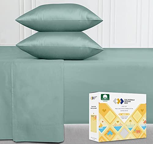 Premium 400-Thread-Count 100% Natural Cotton Sheets - 4-Piece Green...