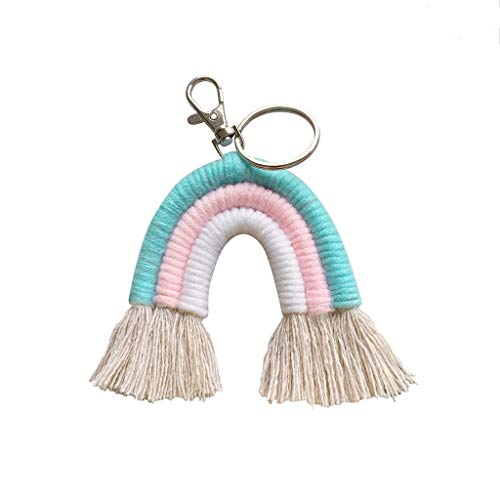 GREEN&RARE Llavero de arco iris tejido para mujer, hecho a mano, diseño bohemio, con bolsa de macramé, regalo ideal para el día de San Valentín, regalo de un amigo
