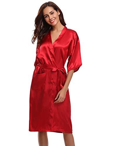 Aibrou Damen Satin Morgenmantel Kimono Lang Bademantel Schlafanzug Nachthemd Nachtwäsche Unterwäsche V Ausschnitt Weinrot L