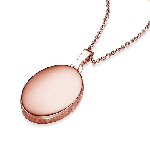 Medaillon oval Amulett (Mealion, Medallion) zum Öffnen, aufklappen, aufklappbar mit Kette für Foto Rotgold Kette hochwertig vergoldet! + inkl. Luxusetui + Kette Rotgold FF04 VGRT45