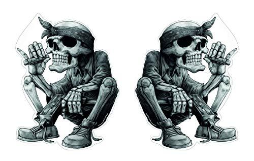 Skull Skelett Aufkleber Set 2 Stück Sticker Rap Musik Schädel Rapper Cool Bandana Zigarre ca. 13x10 cm