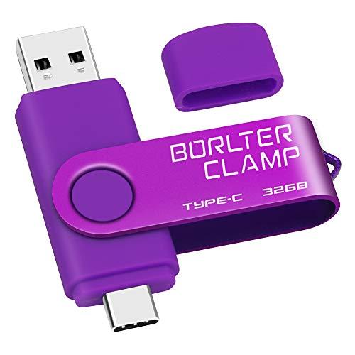 32GB Chiavetta USB 3.0 Type-C, BorlterClamp 2 in 1 Pendrive (USB C e USB-A 3.0) Memoria Flash OTG USB Flash Drive Girevole per Android Smartphone Samsung S10 S8, Huawei honor, Laptop, PC (Porpora)