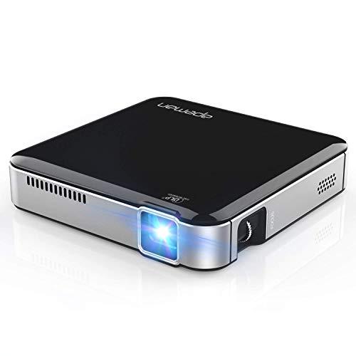 Mini Beamer DLP-Projektor 1080P Full HD Unterstützt 213g Eingebauter Akku Aktualisiertes Stativ Stereo-Lautsprecher LED 45000 Stunden für Zuhause und Reisen Wiederverwendbar