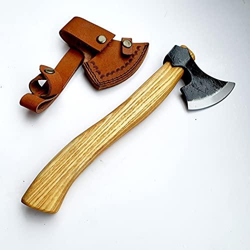 CRAFTOMATIK VAX04 - Hacha vikinga para jardín (acero al carbono, funda de piel de fresno)