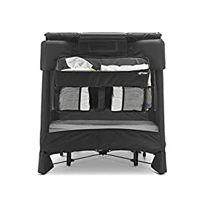 4moms Breeze Playard Diaper Caddy, Storage Basket for Diapers, Baby Wipes, and Organization, to Keep Essentials Within Reach, Black