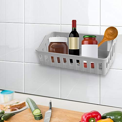 Estante de almacenamiento de baño Estante de ducha con soporte de buen peso Canasta Estante de ducha duradero Estante de ducha con ventosa Estante de almacenamiento para(gray)