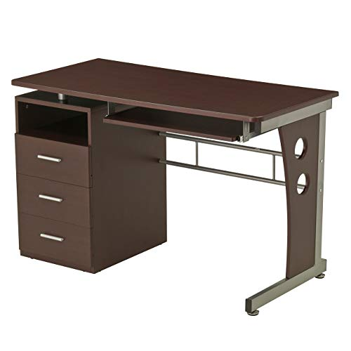 Computer Desk With Ample Storage. Color: Chocolate