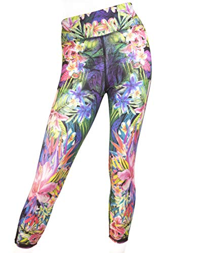 EVCR Capri Leggings for Women - Non See Through Soft Athletic Yoga Pants for Workout, Jungle Mirrors, X-Small