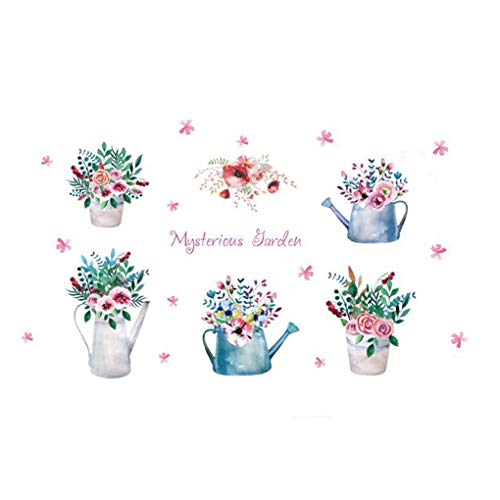Dessin animé animaux Stickers muraux Stickers muraux Home Decor pour bébé garçons filles enfants Chambre à coucher Décoration de cuisine Sweet Flowers Potted