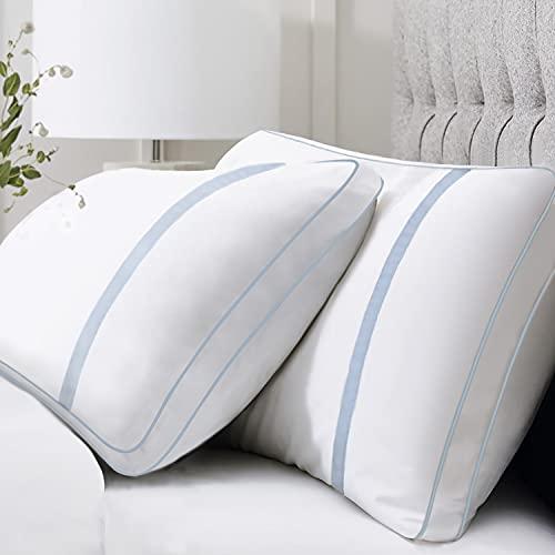 BedStory Almohada Antiácaros 42 x 70cm Almohada Fibra con Relleno 3D Fibra Mantiene la Forma Almohada 70 Pack 2 para Cama Almohadas para Hoteles【Nueva Versión】 Azul