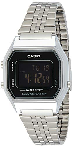 Casio Ladies Mid-Size Silver Digital Retro Watch LA-680WA-1BDF